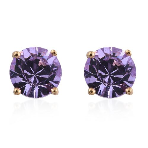 Crystal from Swarovski - Violet Colour Crystal (Rnd) Stud Earrings (with Push Back) in 14K Gold Overlay Sterling Silver