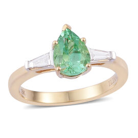 ILIANA 18K Y Gold Boyaca Colombian Emerald (Pear 1.25 Ct), Diamond Ring 1.500 Ct.