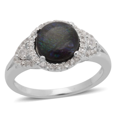 Canadian Ammolite (Rnd 1.75 Ct), White Topaz Ring in Rhodium Plated Sterling Silver 2.330 Ct.