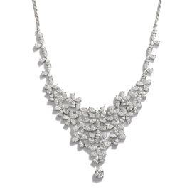 J Francis - Platinum Overlay Sterling Silver (Pear) Necklace (Size 17) Made with SWAROVSKI ZIRCONIA