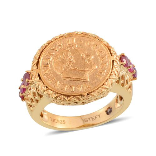 Stefy African Ruby (Rnd), Pink Sapphire Ring with Coin in 14K Gold Overlay Sterling Silver