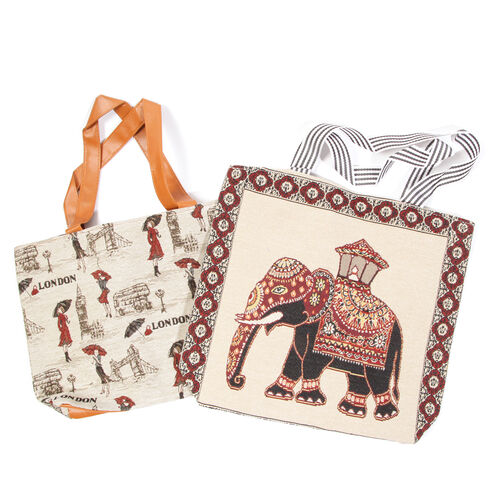 Set of 2 - Elephant Pattern Cream Colour Large Handbag (Size 43x39x10.5 Cm) and London and Beautiful Girl Pattern Small Handbag with External Zipper Pocket (Size 43x33x11.5 Cm)