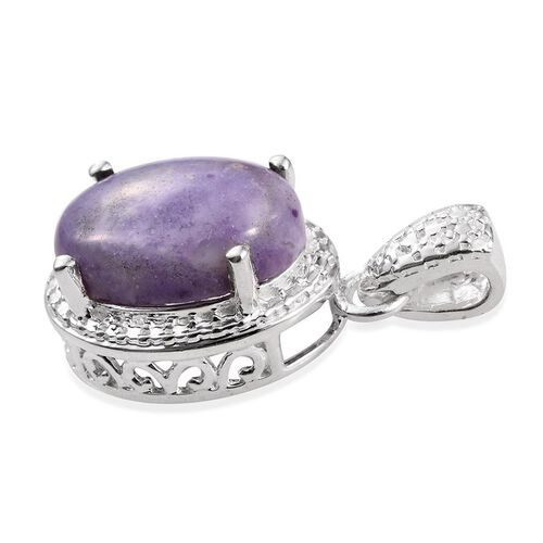 Purple Opal (Ovl) Solitaire Pendant in Sterling Silver 5.000 Ct.