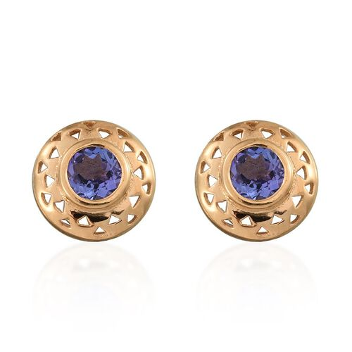 Tanzanite (Rnd) Stud Earrings (with Push Back) in 14K Gold Overlay Sterling Silver 1.000 Ct.