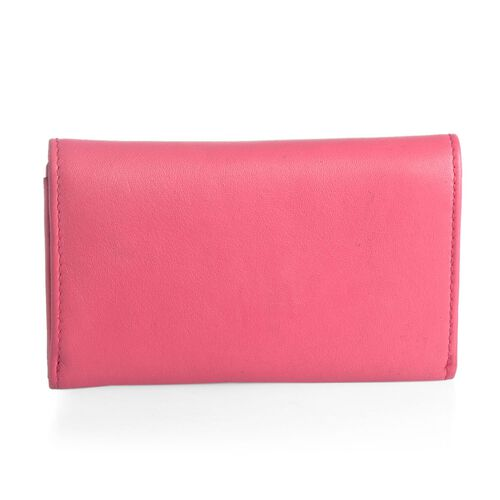 Genuine Leather RFID Blocker Pink Colour Ladies Purse (Size 15.5x8.5 Cm)