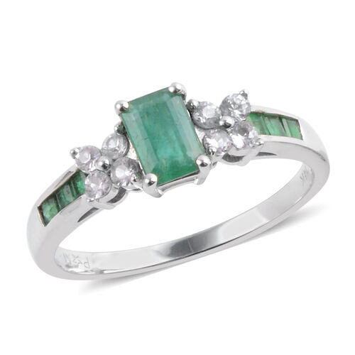 Close Out Deal 14K W Gold Kagem Zambian Emerald (Oct 0.50 Ct), White Topaz Ring 1.100 Ct.