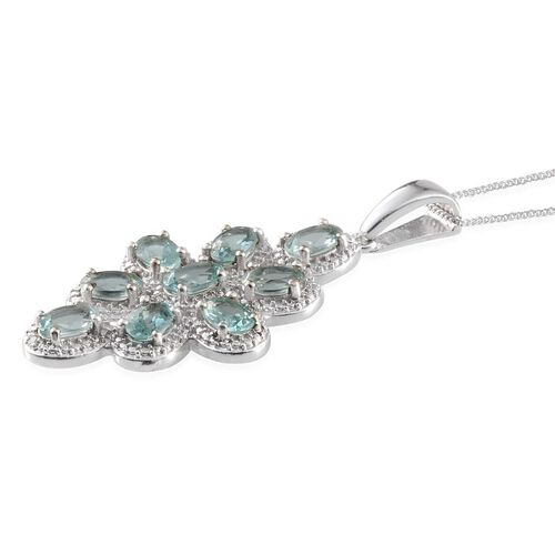 Paraibe Apatite (Ovl), Diamond Pendant With Chain in Platinum Overlay Sterling Silver 3.270 Ct.