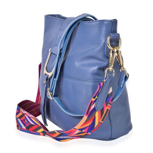 Genuine Leather Blue Colour Shoulder Bag (Size 29x26x23x13 Cm) with External Zipper Pocket and Multi Colour Removable Shoulder Strap