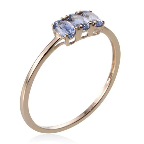 9K Y Gold Ceylon Blue Sapphire (Ovl) Trilogy Ring 0.750 Ct.