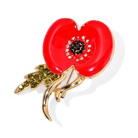 (Option 1) TJC Poppy Designs Multi Colour Austrian Crystal Brooch in Gold Tone