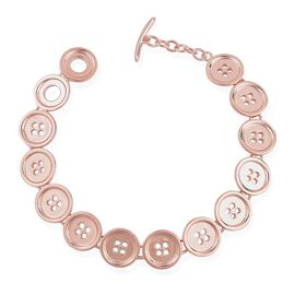 LucyQ Button Bracelet (Size 8) in Rose Gold Overlay Sterling Silver 21.00 Gms.