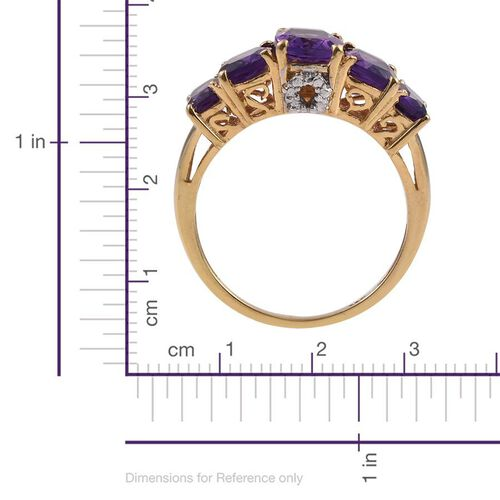 Lusaka Amethyst (Cush 1.25 Ct) 5 Stone Ring in 14K Gold Overlay Sterling Silver 4.000 Ct.