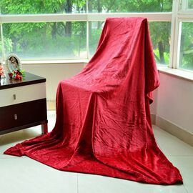 Superfine Microfibre Red Colour Super Soft Throw (Size 200x150 Cm)