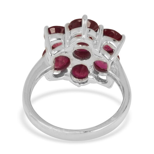 African Ruby (Rnd) 7 Stone Floral Ring in Rhodium Plated Sterling Silver 10.000 Ct.