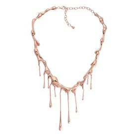 LucyQ Multi Drip Necklace (Size 17 with 3.5 inch Extender) in Rose Gold Overlay Sterling Silver 86.15 Gms.