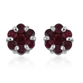 Mahenge Spinel (Rnd) Floral Stud Earrings (with Push Back) in Platinum Overlay Sterling Silver 1.000 Ct.