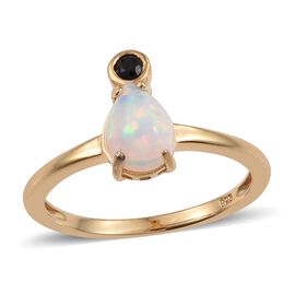 1 Carat Ethiopian Welo Opal Pear, Black Spinel Silver Ring in Gold Overlay.