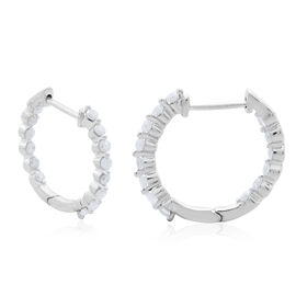 9K White Gold 0.50 Carat Diamond Inside Out Hoop Earrings (with Clasp) SGL Certified I3 G-H