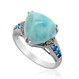 Larimar (Trl 6.25 Ct), Malgache Neon Apatite and Diamond Ring in Platinum Overlay Sterling Silver 6.500 Ct.