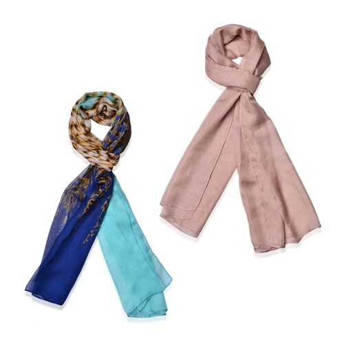 Set of 2 - Designer Inspired Chocolate and Pink Colour Scarf (Size 175x70 Cm)