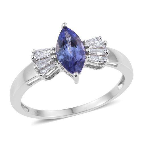 9K W Gold Tanzanite (Mrq 1.00 Ct), Diamond Ring 1.150 Ct.
