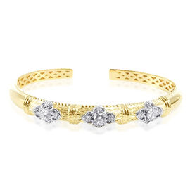 Simulated Diamond (AAA) (Rnd) Bangle in 14K Gold Overlay Sterling Silver 1.250 Ct.