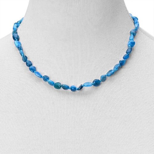 Hand Knotted Paraibe Apatite Necklace (Size 18 with 2 inch Extender) in Rhodium Plated Sterling Silver 105.000 Ct.