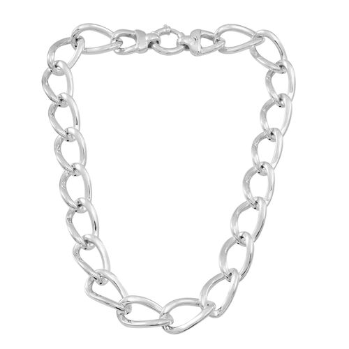 (Option 2) Statement Collection Sterling Silver Curb Necklace (Size 20), Silver wt 58.92 Gms.