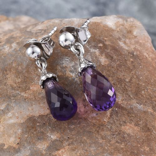 Checkerboard Cut AA Lusaka Amethyst Drop Earrings (with Push Back) in Platinum Overlay Sterling Silver 4.000 Ct.