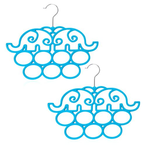 Set of 2 - Blue Colour Elephant Pattern Scarf Hanger (Size 32x27 Cm)