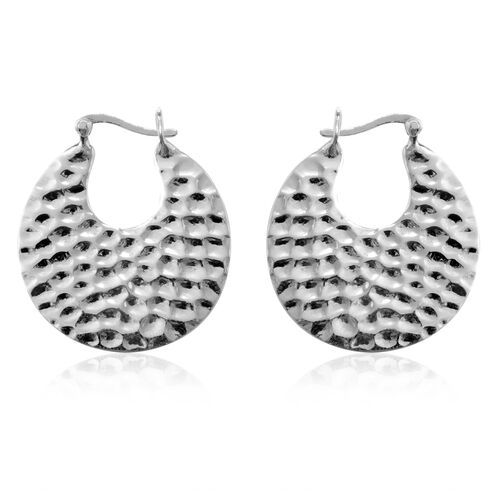 Designer Inspired Close Out Deal Sterling Silver Round Hoop Earrings, Silver wt 6.23 Gms.