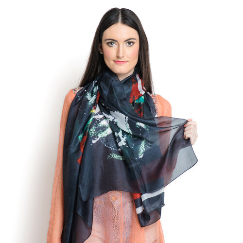 100% Mulberry Silk Red and Multi Colour Floral Printed Black Colour Scarf (Size 180x100 Cm)