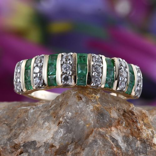 9K Y Gold Kagem Zambian Emerald (Sqr), Natural Cambodian Zircon Ring 1.500 Ct.