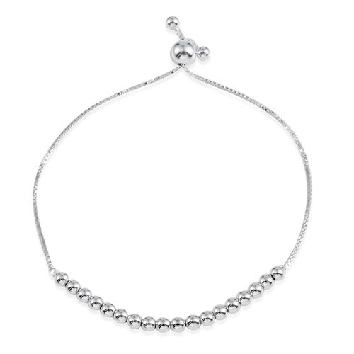 JCK Vegas Collection Sterling Silver Adjustable Beads Bracelet (Size 6 to 9), Silver Wt 3.60 Gms.