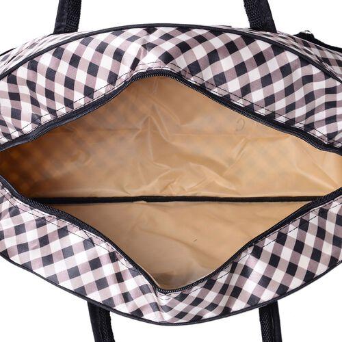 Gingham Weekend Bag with External Zipper Pocket and Adjustable Shoulder Strap (Size 50x31x17 Cm)