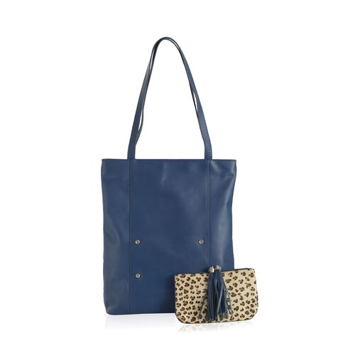 Elizabeth Genuine Leather Blue Colour Tote Bag with Removable Leopard Pattern Beige Colour Pouch (Size 38x37 Cm and 21x13 Cm)