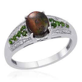 Designer Collection Canadian Ammolite (Ovl 1.62 Ct), Russian Diopside and Diamond Ring in Platinum Overlay Sterling Silver 2.040 Ct.
