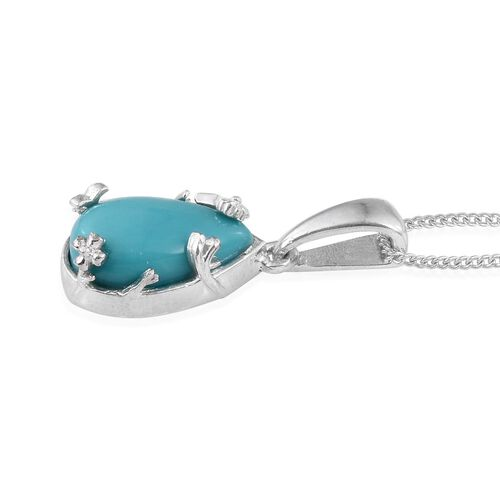 Sonoran Turquoise (Pear) Solitaire Pendant With Chain in Platinum Overlay Sterling Silver 2.750 Ct.