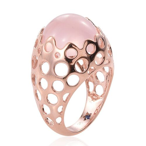 GP Rose Quartz (Rnd), Kanchanaburi Blue Sapphire Ring in Rose Gold Overlay Sterling Silver 13.000 Ct.