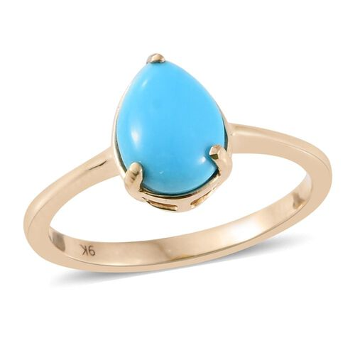 9K Yellow Gold 1.40 Carat AA Arizona Sleeping Beauty Turquoise Pear Solitaire Ring