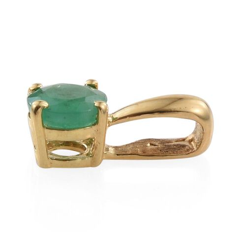 Zambian Emerald 0.50 Carat Silver Solitaire Pendant in Yellow Gold Overlay