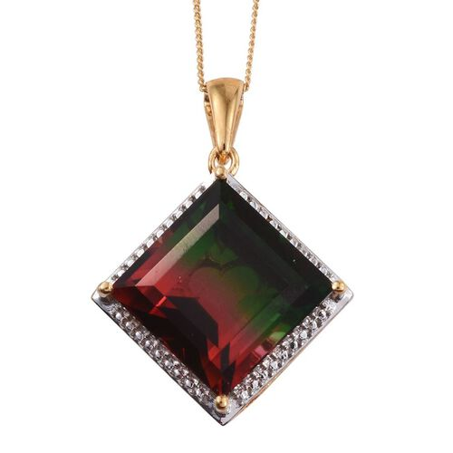 Tourmaline Colour Quartz (Sqr) Pendant With Chain in 14K Gold Overlay Sterling Silver 15.000 Ct.