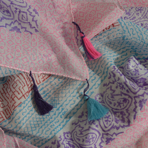 100% Cotton Hand Block Printed Blue, White, Purple, Pink and Multi Colour Pareo with Tassels (Size 180x100 Cm)
