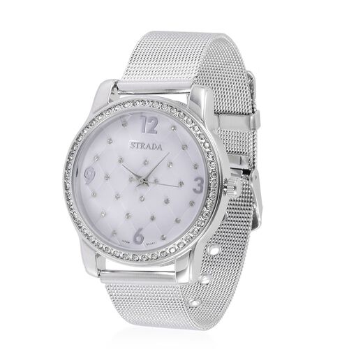 STRADA Japanese Movement White Austrian Crystal Studded White Dial Water Resistant Watch in Silver Tone with Stainless Steel Back and Chain Strap