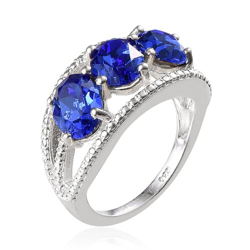 Crystal from Swarovski - Sapphire Colour Crystal (Ovl) Trilogy Ring in Sterling Silver 3.250 Ct.