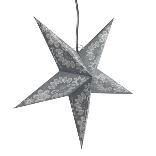 CHRISTMAS SPECIAL Home Decor - Floral Pattern Grey Colour Handmade Star with Electric Cable (Size 60 Cm)