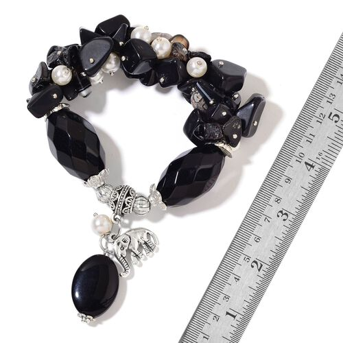 Set of 2 - Black Agate, Opalite, Fresh Water White Pearl, Simulated White Diamond and White Glass Pearl Stretchable Bracelet (Size 7) with Elephant Charm in Silver Tone 783.00 Ct.