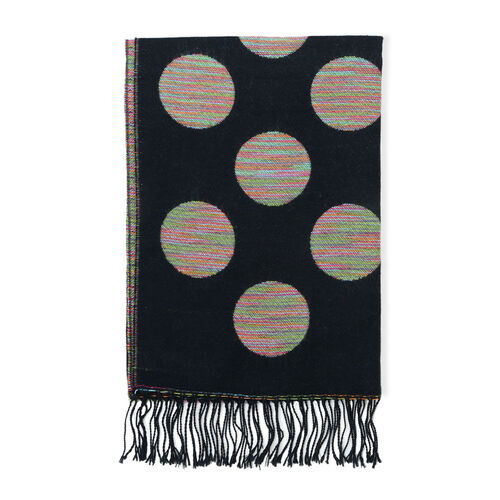 Multi Colour Large Polka Dot Pattern Black Scarf (Size 180x65 Cm)