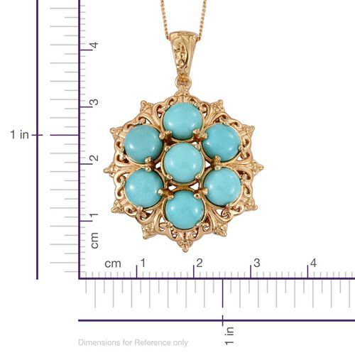 Sonoran Turquoise (Rnd) 7 Stone Pendant With Chain in 14K Gold Overlay Sterling Silver 5.250 Ct.