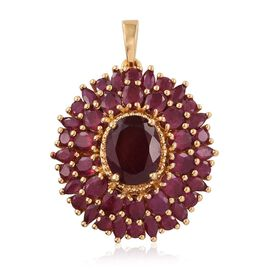 African Ruby (Ovl 4.25 Ct) Cluster Pendant in 14K Gold Overlay Sterling Silver 10.500 Ct.